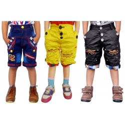 Short For Boys Casual Solid Cotton PACK OF 3 JEANS YELLOW BLACK