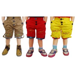 Short For Boys Casual Solid Cotton  PACK OF 3 KHAKHI_YELLO_RED_SHORTS