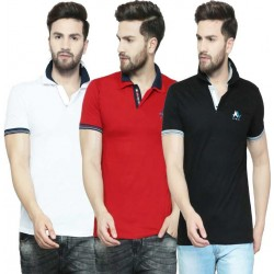 Solid Men Polo Neck Multicolor T-Shirt  (Pack of 3)