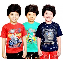 Boys Printed Cotton Blend T Shirt  (Multicolor, Pack of 3)