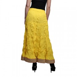 AD & AV Solid Women's Broomstick Yellow Skirt (190)