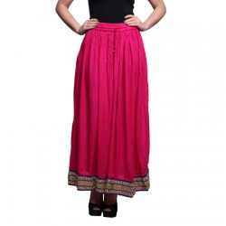 AD & AV Solid Women's Broomstick PINK Skirt (191)