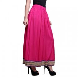 AD & AV Solid Women's Broomstick PINK Skirt (191)