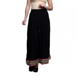 AD & AV Solid Women's Broomstick BLACK RAYON  Skirt (192)