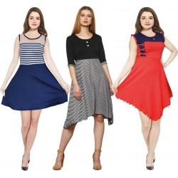 Women Fit and Flare Multicolor Dress