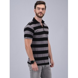 Striped Men's Collared Neck Grey T-Shirt
