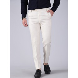 Regular Fit Men CREAM Trousers