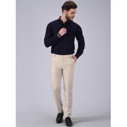 Regular Fit Men CREAM Trousers