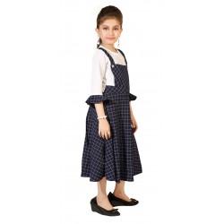 Girls Midi/Knee Length Casual Dress  (Dark Blue, 3/4 Sleeve)