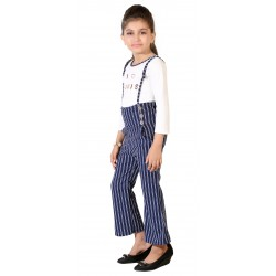 Dungaree For Girls Casual Striped Poly Cotton  (White, Pack of 1)