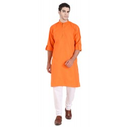 Men'S PLAIN ORANGE KURTA PAJAMA