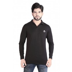 Solid Men Polo Neck Black T-Shirt