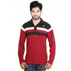 Color block Men Polo Neck Red T-Shirt