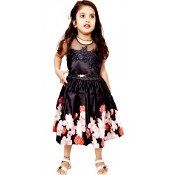 AD & AV Girls  Casual Dress ( FROCK BLACK DIGITAL )