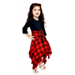 AD & AV Girls  Casual Dress ( FROCK RED CHEX )