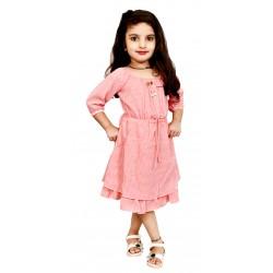 AD & AV Girls  Casual Dress ( FROCK PINK DOT )