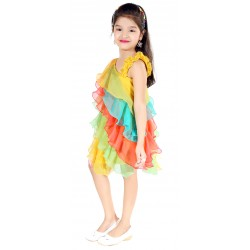 AD & AV Girls  Casual Dress ( FROCK RAINBOW)