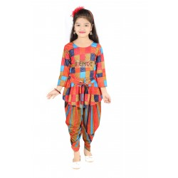 AD & AV Girls  Casual Dress (  PANJABI SUIT RED  )