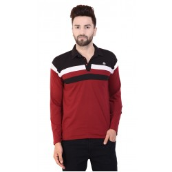 Color block Men Polo Neck Red T-Shirt