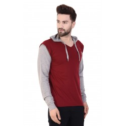 Solid Men Hooded Red T-Shirt