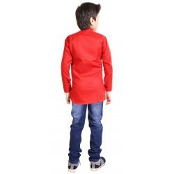 AD & AV BOY'S SHORT KURTA RED WITH BADI JEANS