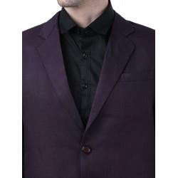 Solid Single Breasted Formal Men Full Sleeve Blazer  (Purple)