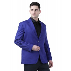 Solid Single Breasted Formal Men Full Sleeve Blazer  (Blue)