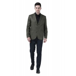 Solid Single Breasted Formal Men Full Sleeve Blazer  (Green)