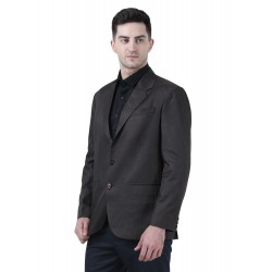 Solid Single Breasted Formal Men Full Sleeve Blazer  (Brown)