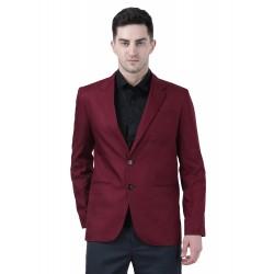 Solid Single Breasted Formal Men Full Sleeve Blazer  (Maroon)