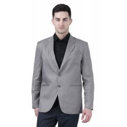 Solid Single Breasted Formal Men Full Sleeve Blazer  (Grey)
