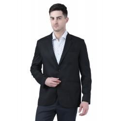 Solid Single Breasted Formal Men Full Sleeve Blazer  (Black)