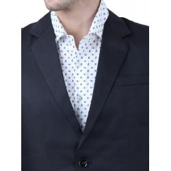 Solid Single Breasted Formal Men Full Sleeve Blazer  (Dark Blue)