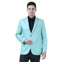 Solid Single Breasted Formal Men Full Sleeve Blazer  (Light Blue)