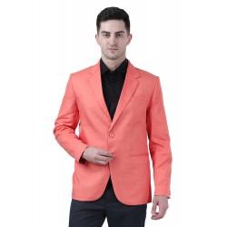 Solid Single Breasted Formal Men Full Sleeve Blazer  (Pink)