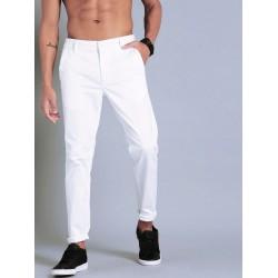 Regular Fit Men White Polyester Trousers