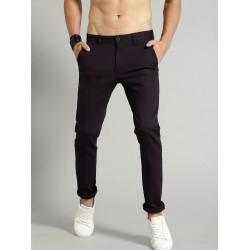 Regular Fit Men Brown Polyester Trousers