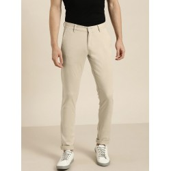 Regular Fit Men Beige Polyester Trousers