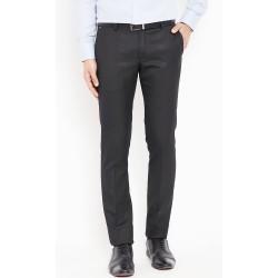 Regular Fit Men Black Polyester Viscose Blend Trousers