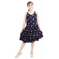 Girls Midi/Knee Length Casual Dress  (Dark Blue, Noodle strap)