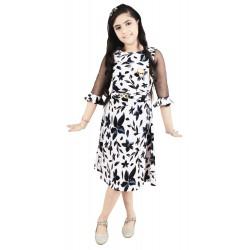 Girls Midi/Knee Length Casual Dress  (White, 3/4 Sleeve)