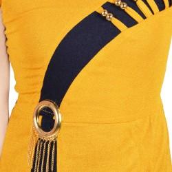 Baby Girls Midi/Knee Length Casual Dress  (Yellow, Sleeveless)