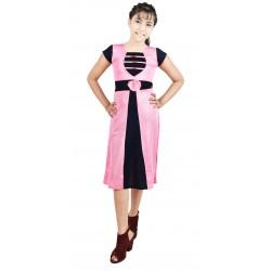 Girls Calf Length Casual Dress  (Pink, Cap Sleeve)