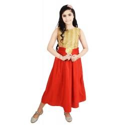 Girls Midi/Knee Length Casual Dress  (Red, Sleeveless)