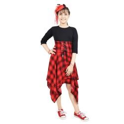 Girls Calf Length Casual Dress  (Black, 3/4 Sleeve)