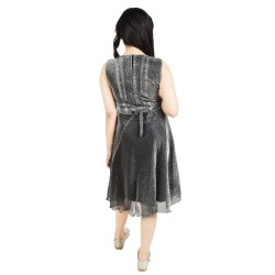 Girls Calf Length Casual Dress  (Grey, Sleeveless)