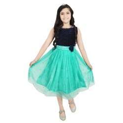 Girls Midi/Knee Length Casual Dress  (Green, Sleeveless)