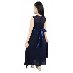 Girls Midi/Knee Length Casual Dress  (Dark Blue, Sleeveless)