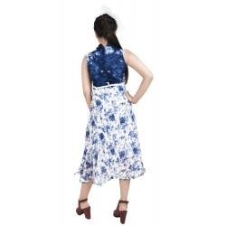 Girls Calf Length Casual Dress  (Blue, Sleeveless)
