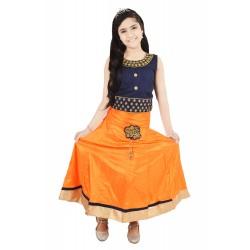 Girls Lehenga Choli Ethnic Wear Solid Lehenga Choli  (Yellow, Pack of 1)